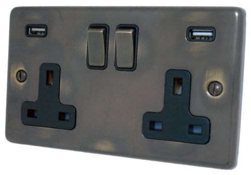 G&H CAN3910 Standard Plate Polished Aged Brass 2 Gang Double 13A Switched Plug Socket 2.1A USB
